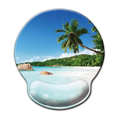 Ergonomic Mouse Pad with Wrist Support,Dooke Cute Wrist Pad with Non-Slip Rubber Base for Computer, Laptop, Home Office Gaming, Working, Easy Typing & Pain Relief,Beach