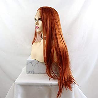 Lucyhairwig Synthetic Lace Front Wig Copper Red #360 Heat Resistant Fiber Hair Silky Straight Wigs For Women