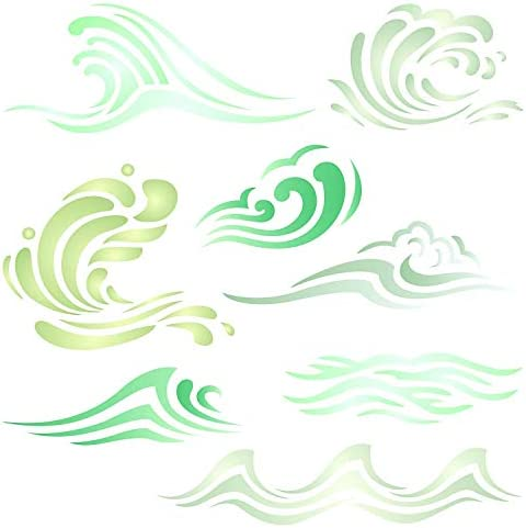 Waves Stencil 4 5 x 4 5 inch S Ocean Sea Wave Water Effect Stencils for Painting Template product image