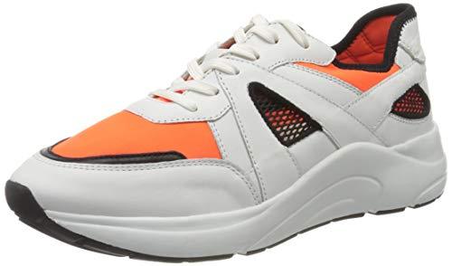 CAPRICE Kiss, Zapatillas para Mujer, Blanco (White/Orange 136), 37 EU