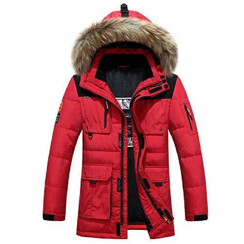 SKJKT Rusia - Chaqueta de Invierno para Hombre, Resistente al frío, Cuello de Piel auténtica, Gruesa, plumón de Pato, Color Blanco cálido, Otoño-Invierno, Hombre, Color Rosso, tamaño XL
