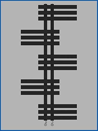 Designbadheizkörper ELFIE 1200 x 500 mm. Schwarz Anthrazit Handtuchtrockner