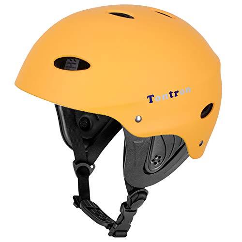 Tontron Classic Wakeboard, kayak, kite surf, casco per sport acquatici, TC-WH01, Giallo opaco., L
