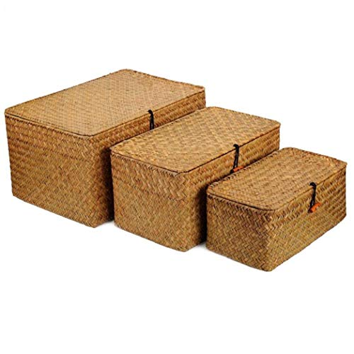 Woven Wicker Storage, Multipurpose Container with Lid Finishing Organizer for Living Room Bedroom Desktop Cosmetic Snack(S M L) 3Pcs
