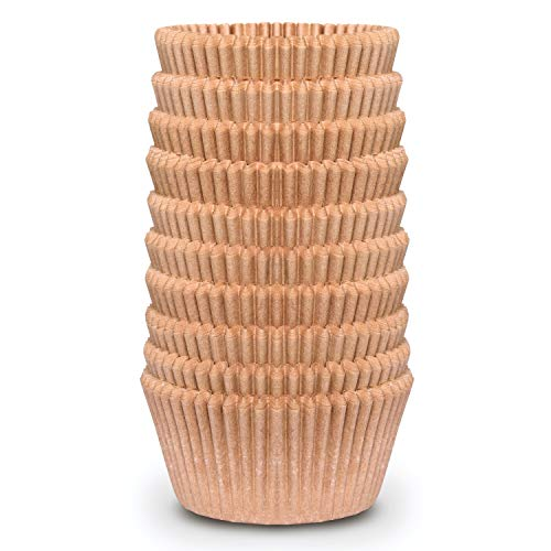 Cupcake Baking Cup Liner – Jumbo Size, Extra Thick, Unbleached Brown Disposable Cup Parchment Liner for Baking– Food Grade & No Smell – Muffin Paper Baking Cups by NextClimb (Jumbo, Pack of 200)