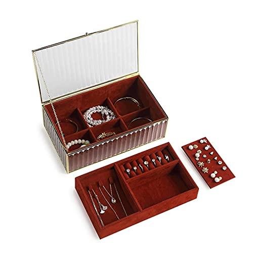 QIXIAOCYB Caja de joyería roja Dos capas Organizador Mostrar caja de almacenamiento - bandeja extraíble, para collares, pulseras, anillos, relojes, pendientes - regalo para mujeres niñas Cajas de joye