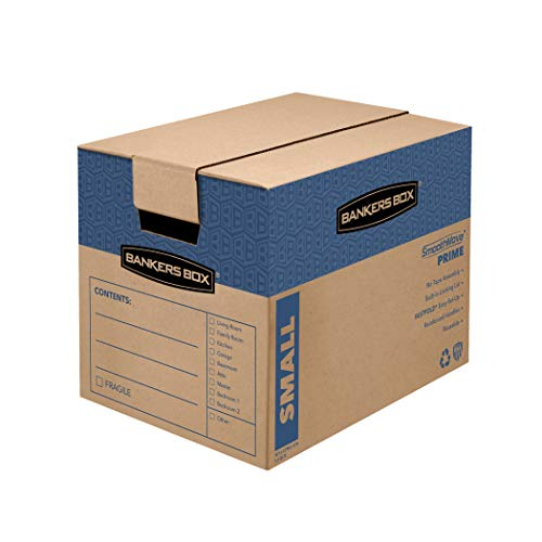 Bankers Box SmoothMove Prime Moving Boxes, Tape-Free and Fast-Fold Assembly, Small, 16 x 12 x 12 Inches, 15 Pack…
