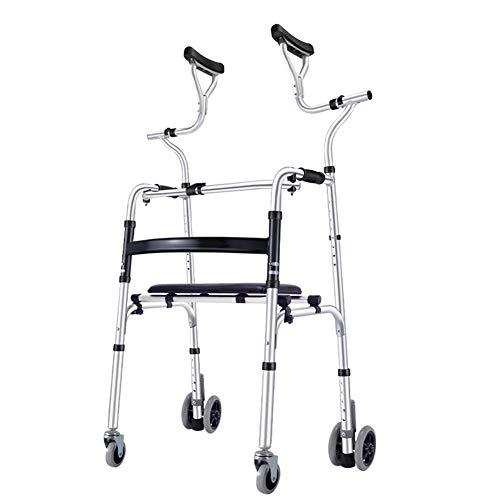 YXX- Rollator Gehhilfen Senioren Aufrechte Standläufer Für Senioren Mit Achselstütze, Medizinischer Rollator Mit Einstellbarer Höhe Für Ältere Menschen, Frauen, Erwachsene Und Behinderte Gehwagen