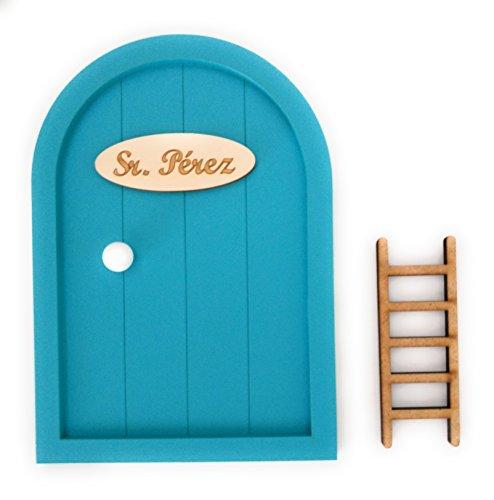 Ratoncito Pérez Puerta Madera Escalera + Felpudo + Ratoncito de Madera/Decoraciones de Pared con Adhesivo (Azul Turquesa)