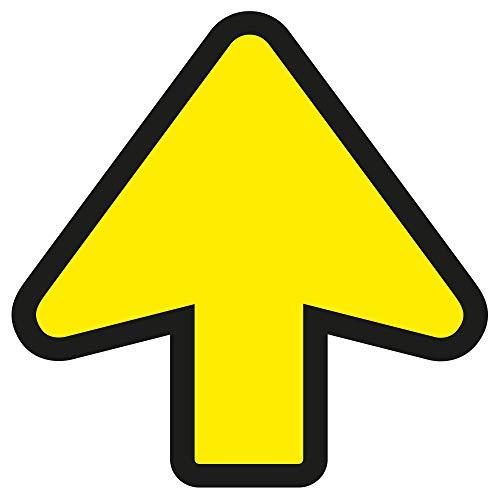 10 Fußbodenaufkleber, Pfeil, 20 x 20 cm, Gelb/Schwarz - Sicherheitsabstand Aufkleber - Halten Sie 1,5 m Abstand Aufkleber Warnschilder - Anti-Rutsch + Wasserdicht & UV-beständig