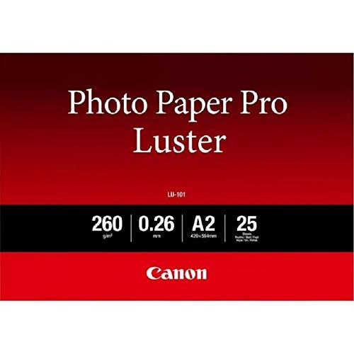 Canon Fotopapier Luster LU-101 glänzend weiß - (DIN A2, 25 Blatt) für Tintenstrahldrucker - PIXMA Drucker 42x59,4 cm (260 g/qm)