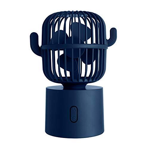 pridesong Mini Ventilador de sobremesa, Ventilador de Cactus con Cabeza Sacudida, Carga USB, 3 velocidades, silencioso y portátilazul