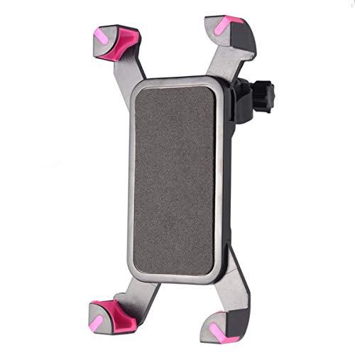 Sunnyflowk Cimiva PVC Plástico Ajustable con rotación de 360 Grados Bicicleta Bicicletas Motocicletas Soporte Soporte Universal para teléfonos Inteligentes (Negro-Rosa)