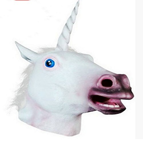 Maschera per Halloween Testa di unicorno terrificante per adulti in lattice