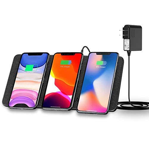 Qi Triple Wireless Ladestation, JE 3-Geräte Multi Wireless Charger Pad, Tischladestation für iPhone 12/12 Mini/12 Pro Max/11/SE 2020/AirPods2, Galaxy S20/S10 Plus/S10E /Note 10,Huawei Mate 30 Pro