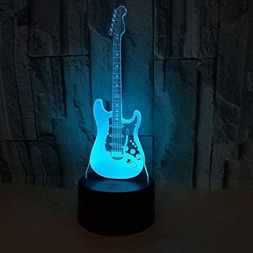 HtapsG Lámpara Escritorio Guitarra eléctrica LED gradiente de Color de luz estéreo 3D táctil Remoto USB luz de Noche mesita de Noche Decorada con imaginación Regalo de cumpleaos 20 * 13 cm