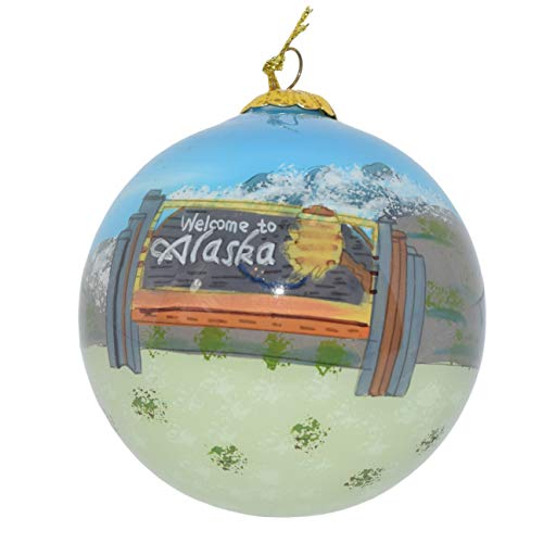 Art Studio Company Hand Painted Glass Christmas Ornament - State Sign Alaska