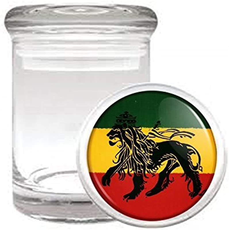 Medical Glass Stash Jar Rasta S5 Air Tight Lid 3 X 2 Small Storage Herb Spices Reggae Lion Jamaican Colors 420 Leaf