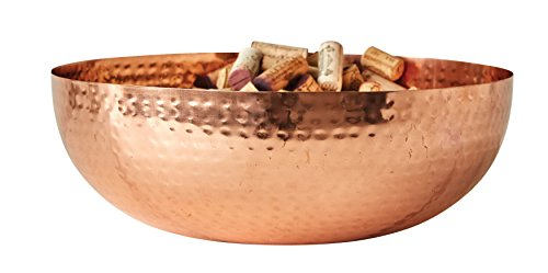 "Creative Co-Op Round Hammered Metal Bowl, 14""L x 14""W x 4.5""H, Copper"