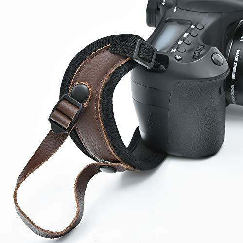 一眼レフカメラハンドストラップ カフ リストストラップ 一眼レフ ストラップ 用の高級革製ハンドグリップストラップ ユニバーサル一眼レフカメラ - 落下防止、アングル安定、ビデオの安定化 ダブル保護バンド 手振れ防止 サイズ調整可 撮影用