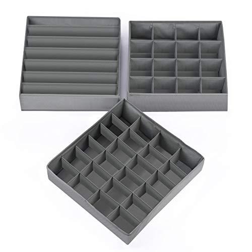 HSR Faltbare Aufbewahrungsbox für Unterwäsche und Socken, 3er-Set stapelbarer Organizer für Schublade Kleiderschrank