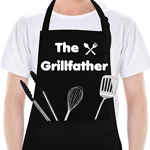 Funny Aprons for Men&Woman, BBQ Grilling Aprons with Pocket, Dad Gifts for Kitchen Cooking