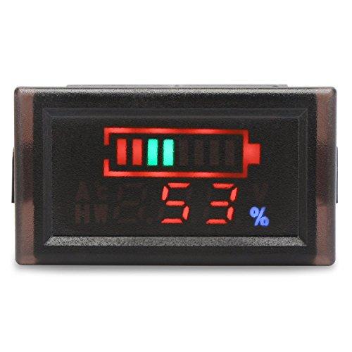 Dorking 2in1 Monitor de batería Voltímetro Digital Tester para electromóvil, DC6-120V Probador de Panel de Capacidad LED Impermeable para 12V / 24V / 36V / 48V Batería de Litio de celda Plomo ácido