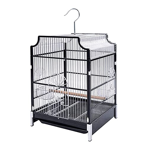 GANE Bird Cage Wrought Iron Large Flight with Rolling Stand for Parakeet,Canary,Finch,Parrotlet,Travel Bird Cage Flight(Black)