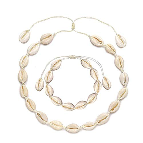 VEYLIN 2 Pack Shell Choker Necklace and Bracelet for Women Girl Beach Decoration