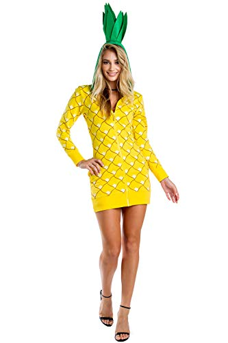 Tipsy Elves Adult Pineapple Costume Dress for Halloween - Pineapple Onesie for Women (XX-Large) Yellow