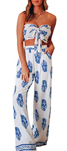 Loalirando Mode Damen Sommer Outfit Zweiteiler Jumpsuit Bandeau Top+ Lange Hosen mit Tasche (Weiß, L)