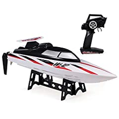 Uses 390 magnetic motor drive system, the maximum speed is 35km/h. Full-scale control. Advanced 2.4G technology, control distance reach up to 100m. No interference. Adopt water cooling system to dissipate heat and the RC boat has longer service life....