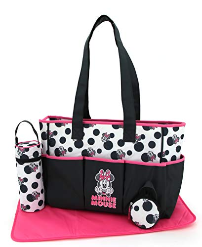 Disney Minnie Mouse Multi Pc Diaper Bag Set with Minnie Mouse Polka Dot Print (Includes Changing Pad, Pacifier Holder, Insulated Bottle Holder, Many Pockets)