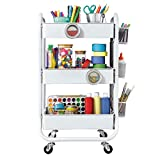 DESIGNA 3-Tier Metal Rolling Utility Cart with Handle & Removable Pegboard, Extra Office Storage Accessories Craft Art Carts, White