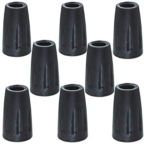 Rubber Tips Cover(8 Pack ) Replacement for Walking Sticks Hiking Trekking Poles Collapsible ( Black )
