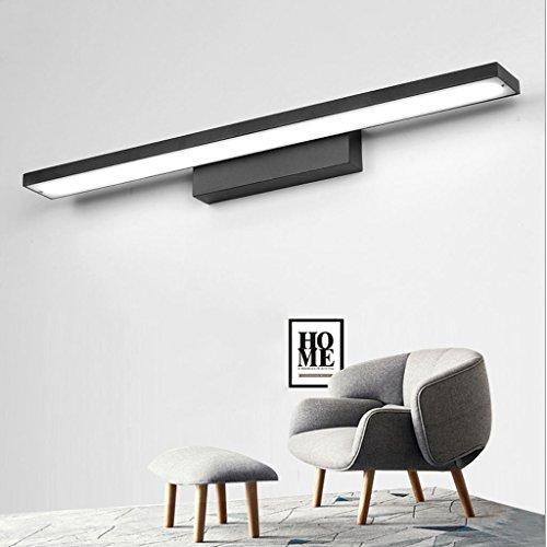 MEI XU- Leuchte Spiegel Frontleuchte, Warmweißes Licht LED Spiegel Frontleuchte Wasserdicht Anti-Beschlag Bad Aluminium Spiegelleuchte Schwarz Lange Wandleuchte 40/60/80 / 100cm
