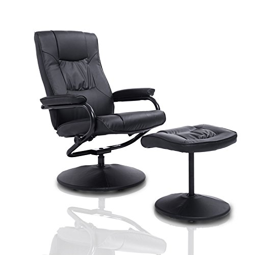 HomCom Ergonomic Faux Leather Lounge Armchair Recliner and Ottoman Set - Black