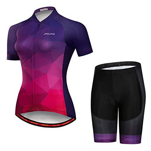 Weimostar Damen Radsportbekleidung Kurzarm Bike Jersey Sets Trägerhose Sommer Radsport Sets Reflektierend
