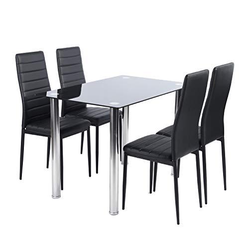 FURNITURE-R France - Juego de mesa y 4 sillas de comedor, color negro