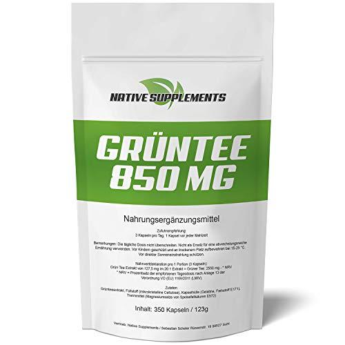 Native Supplements Grün Tee Extrakt - XL Bulk - 350 Kapseln - 850mg Grüntee pro Kapsel - Hochdosiert, Grüner Tee, Green Tea Capsules, Exclusive Qualität