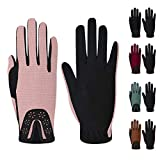 ChinFun Kid's Horse Riding Gloves Child Youth Stretchable Equestrian Mittens Boys & Girls Anti-Slip Gloves for Horseback Riding Cycling Running Outdoor Activities Pink Size XL