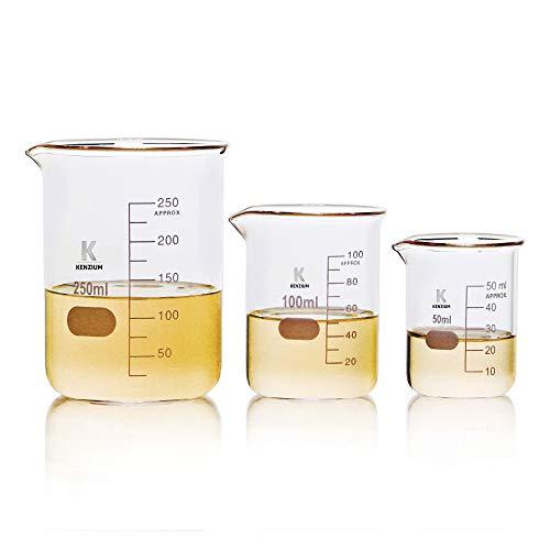KENZIUM - Pack 3 x Vasos de Precipitados | 3 Medidas: 50 ml 100 ml y 250 ml | Vidrio Borosilicato 3.3 | Forma Baja | Graduados, Con Boquilla | Para Líquidos, Alta Resistencia, Autoclavables