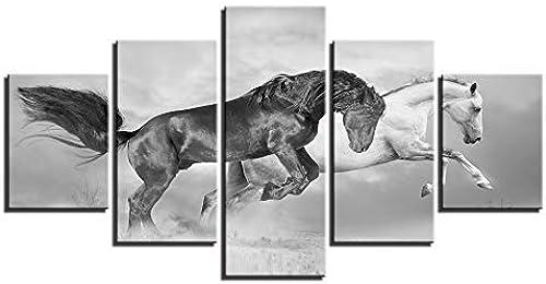 venta al por mayor barato BAIF 5 5 5 Piezas Lienzo de Pintura de Arte decoración del hogar Cuadro Modular de Parojo Carteles 5 Panel negro blanco Caballo salón Moderno HD D Pintura Lienzo Marco  los nuevos estilos calientes