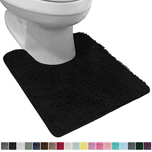 Gorilla Grip Original Shaggy Chenille Oval U-Shape Contoured Mat for Base of Toilet, 22.5x19.5 Size, Machine Wash and Dry, Soft Plush Absorbent Contour Carpet Mats for Bathroom Toilets, Black
