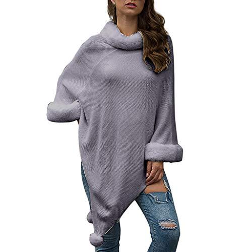 Madmoon Damen Eleganter Bequemer Damen Poncho Pullover mit Chevronstreifen und Fransen Warmer Poncho Pullover mit Mehrweg-Ausschnitt und Süßen Bommeln