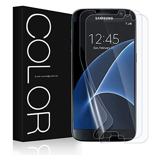 G-Color Galaxy S7 Schutzfolie (2Stück), (Blasenfreie)[Mit Hülle][Einfache Anzubringen](TPU Schutzfolie Nicht Glasfolie)(Nicht S7 Edge Schutzfolie) für Galaxy S7 Schutzfolie