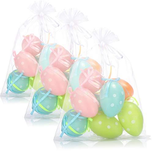 com-four® 24x Ostereier in bunten Farben mit Band zum Aufhängen - Dekoration zu Ostern - 6 cm