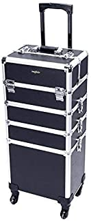 Mefeir 4-in-1 Rolling Makeup Train Case,4 Removable Wheels w/ Lift Handle+Lockable Key,Aluminum Trolley Cart Travel Beauty Cosmetic Artist Stylist Organizer Box (Black)