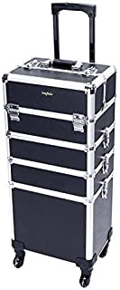 Mefeir 4-in-1 Rolling Makeup Train Case,4 Removable Wheels w/Lift Handle+Lockable Key,Aluminum Trolley Cart Travel Beauty Cosmetic Artist Stylist Organizer Box (Black)