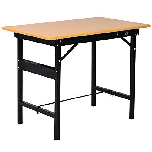 HOMCOM Werkbank Werktisch Arbeitstisch Klapptisch Arbeitsplatte zusammenklappbar Stahl, MDF Gelb+Schwarz 100 x 60 x 75,5 cm